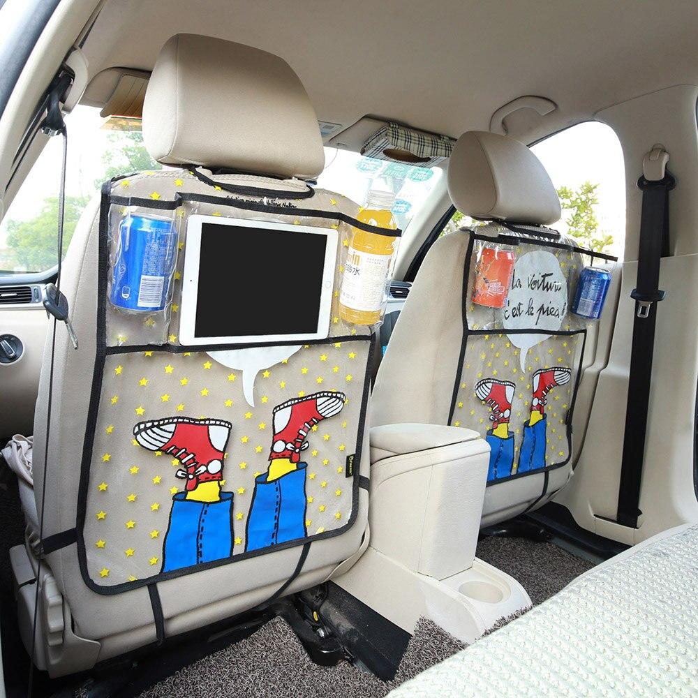 Catoon zapatos coche asiento trasero Protector ambiental Kicking Mat asiento bolsa de almacenamiento organizador para Ipad 4 Air Pro mini