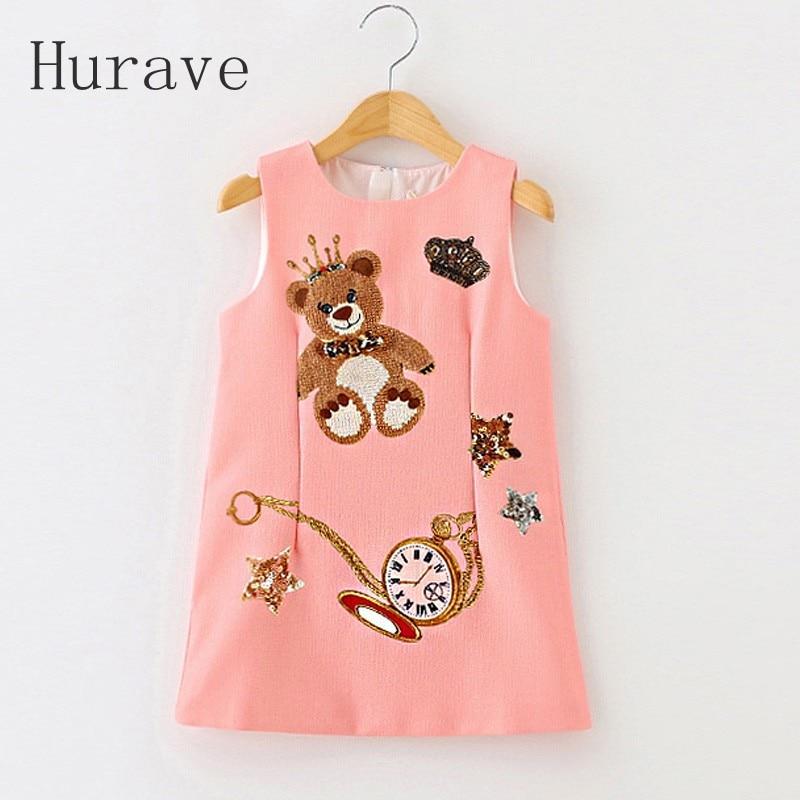 Hurave Girls Dresses 2017 Children Dress Princess Costume Enfant Bear Print Pattern Kids Dresses for Girls