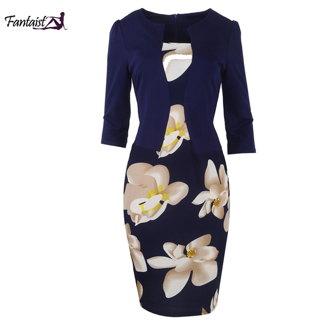 Fantaist Summer Women Casual Elegant Office Work Floral Print Patchwork Sheath Slim Fitted Three Quarter Plus Size Cotton Dress