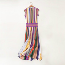 summer fashion women clothes knitwear rainbow striped sweater dress round neck sleeveless mid calf pleated casual dress hot sale