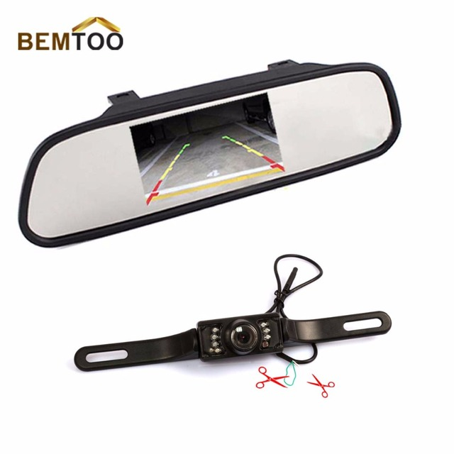 IR Night Vision Car Rear View Camera Waterproof  Camera With 4.3 inch Color LED Car Mirror Monitor car accessories