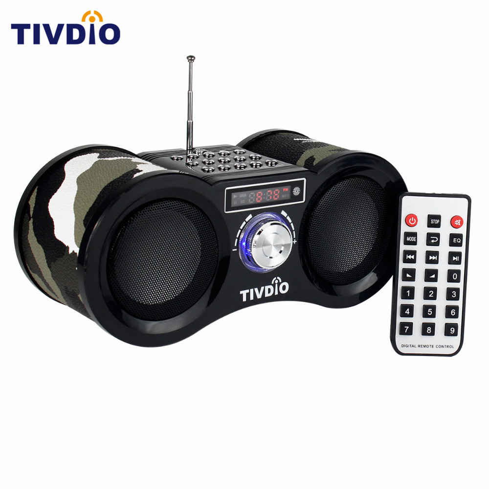 TIVDIO Camouflage Stereo FM Radio USB/TF Card With Speaker MP3 Music Player With Remote Control Receiver Radio F9203M 2 din car radio mp5 player universal 7 inch hd bt usb tf fm aux input multimedia radio entertainment with rear view camera