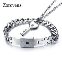 ZORCVENS Fashion Couple Jewelry For Lovers Stainless Steel Women Necklace Men Bracelet Key Pendant Necklace Love Lock Wholesale(China)