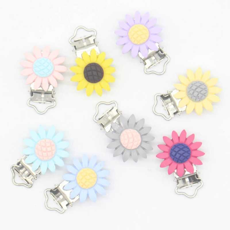 1pcs Resin Baby Pacifier Holder Nipple Clip Infant Cute Sunflower Nipple Clasps For Baby Pacifier Chain Clip Accessories No Hole
