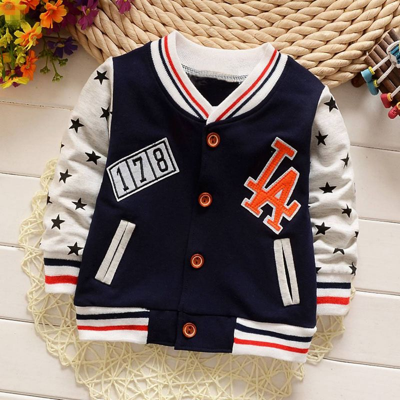 Casual Spring Autumn Kids Children Long Sleeved Star Boys Jackets Cardigan Baby Infants Outwear Coats Casaco