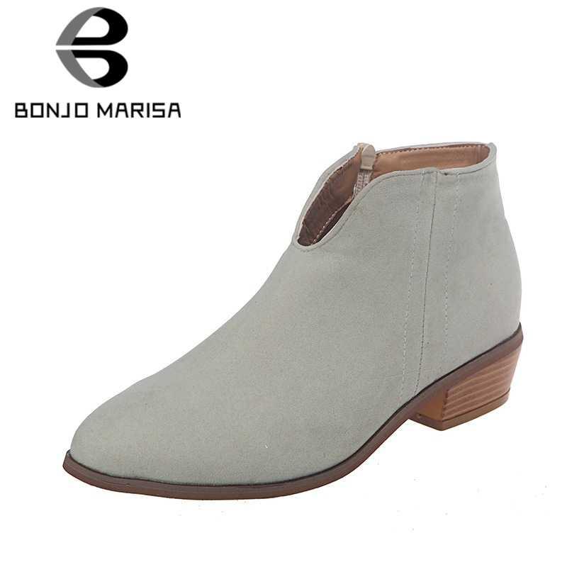 BONJOMARISA 2019 sonbahar yeni INS sıcak bayan ayak bileği patik kadın büyük boy 35-43 sıcak satış batı çizmeler kadın med topuklar ayakkabı kadın