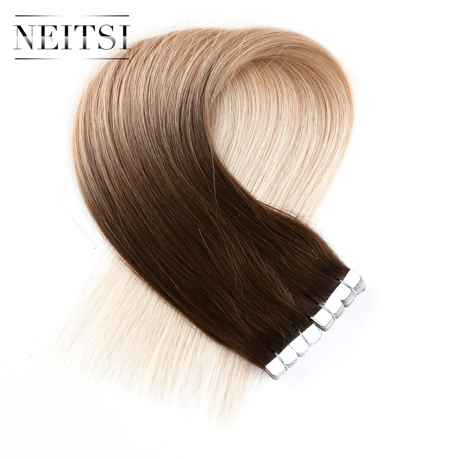 Neitsi Mini Tape In Human Hair Ombre Straight Machine Made Remy Hair Extension 20 2 0g