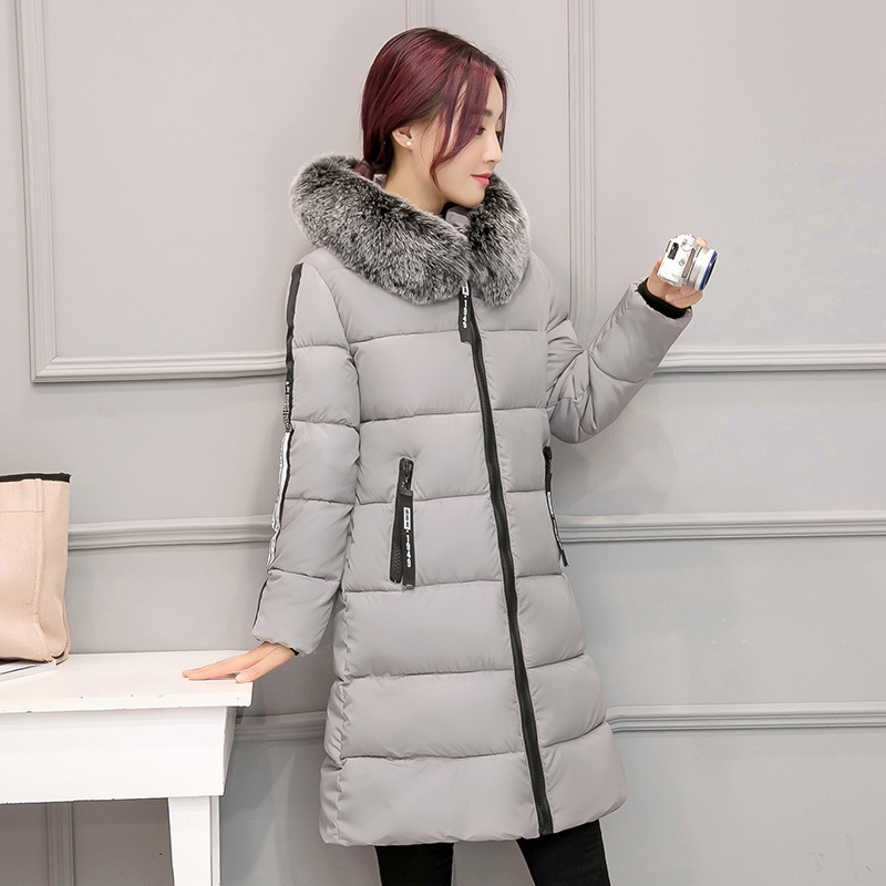 Women's Down Jacket 2017 New Winter Fur Collar Hooded Slim Long Duck Down Jacket Women Warm Coat Overcoat