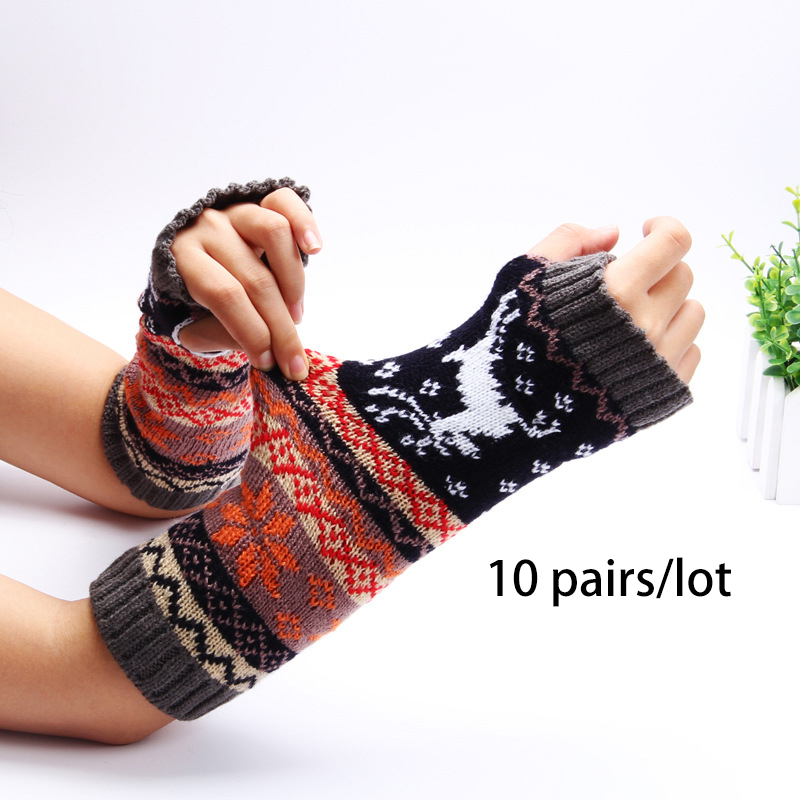 10 Paare/los Frauen Drucken Gestrickte Herbst Winter Arm Wärmer Finger Handschuhe Nationalen Jacquard Sleeves Warme Mode Großhandel Klar Und GroßArtig In Der Art