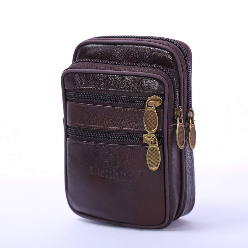 BISI GORO new Genuine leather waist bag Multifunctional Vertical Business Pack Fashion waterproof bags for men fanny pack