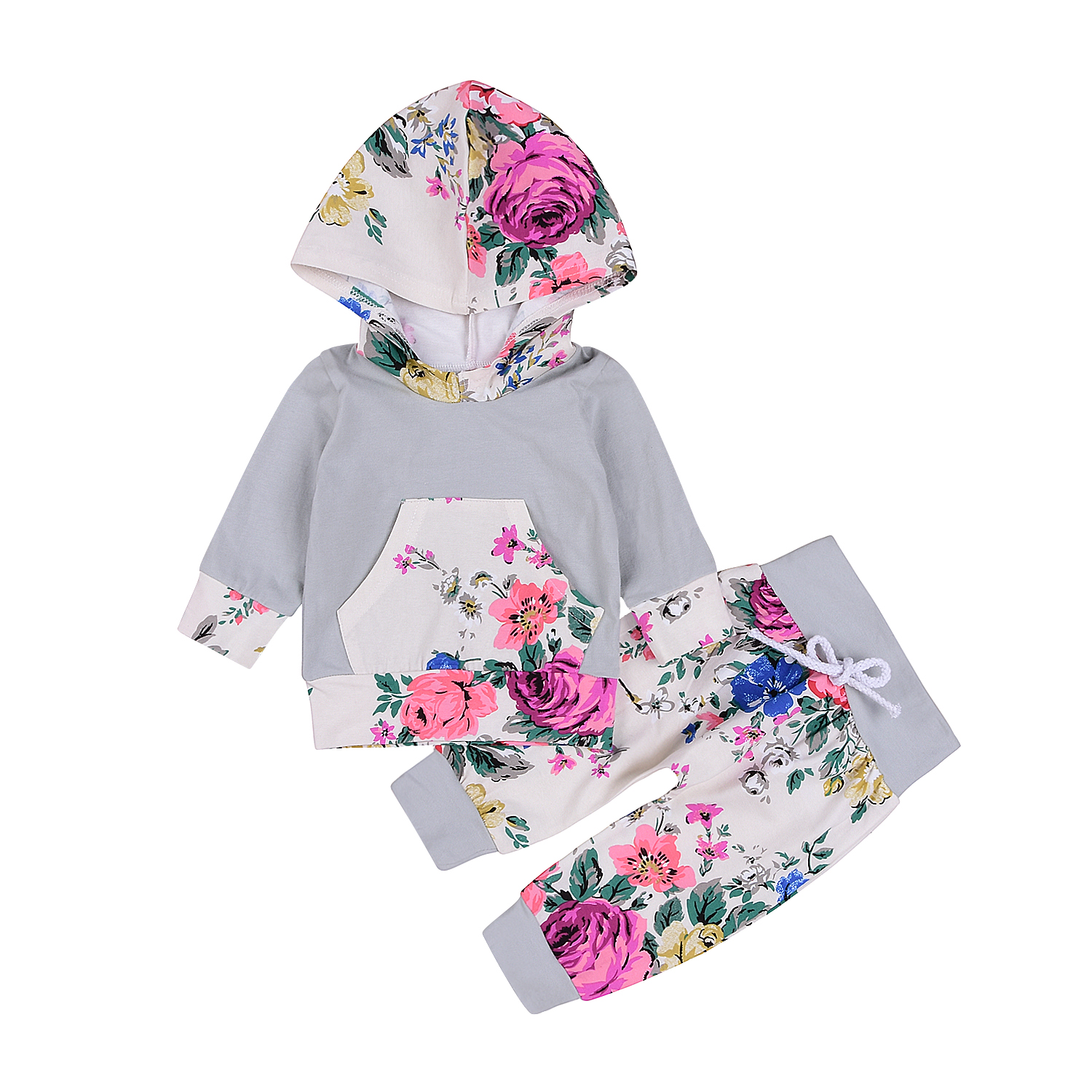Newborn Toddler Baby Boy Girls Clothes Infant Cotton Cute Long Sleeve Floral Hooded Tops Pants 2Pcs Outfits Set Clothes