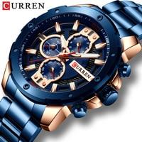 CURREN zegarki mężczyźni pasek ze stali nierdzewnej kwarcowy zegarek wojskowy chronografu zegar mężczyzna mody zegarek sportowy wodoodporna 8336