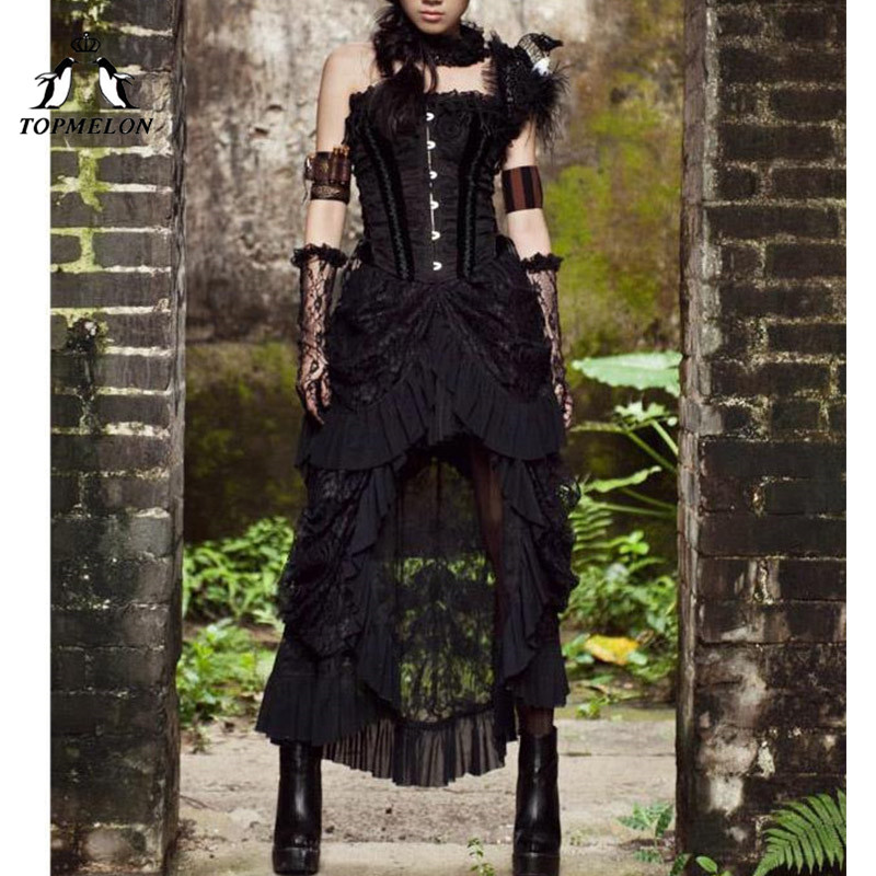 TOPMELON Gothic Steampunk Long Skirts Female Vintage Ruffles Maxi Skirt Solid Shows Dance Performance Costume