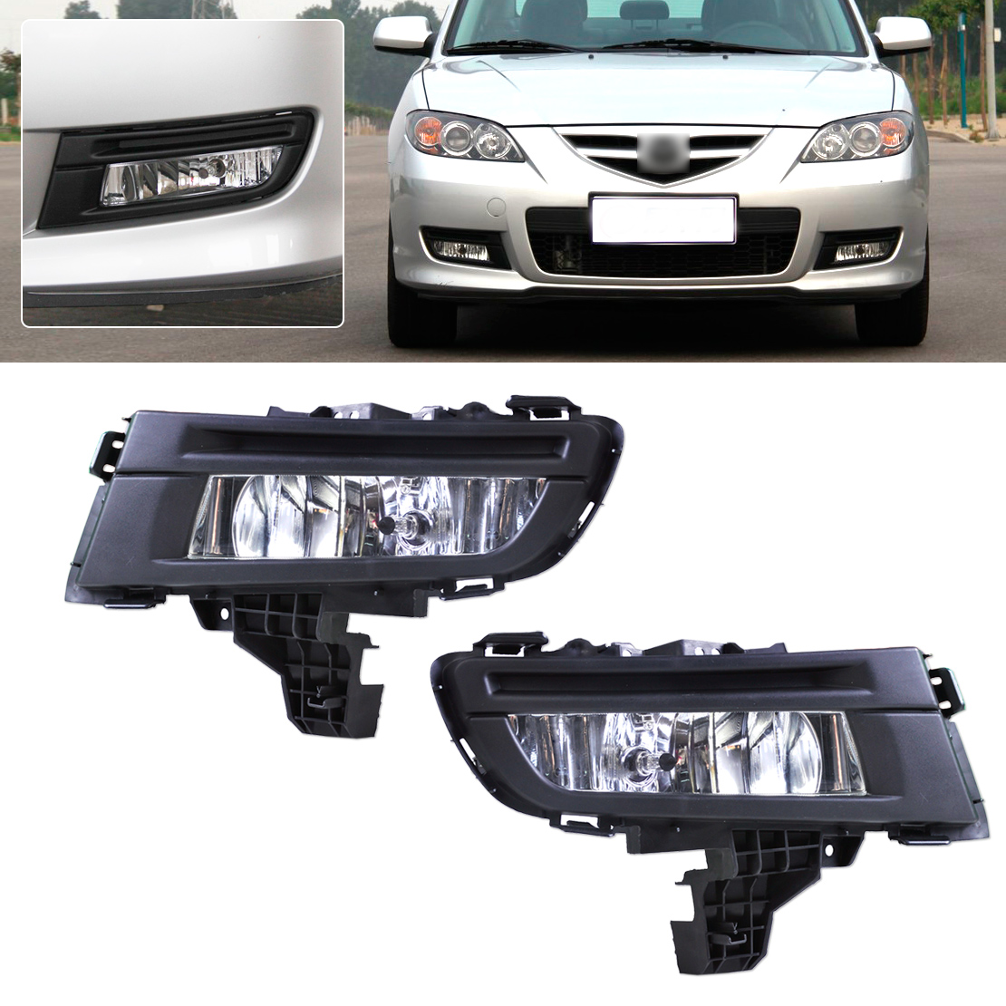 DWCX 1 Pair Front Right + Left Side Fog Light Lamp for Mazda 3 2007 2008 2009 Size approx. 29cm x 12cm 1 pcs left right fog lamp with bulbs front bumper driving fog light for suzuki alto 2009 2017