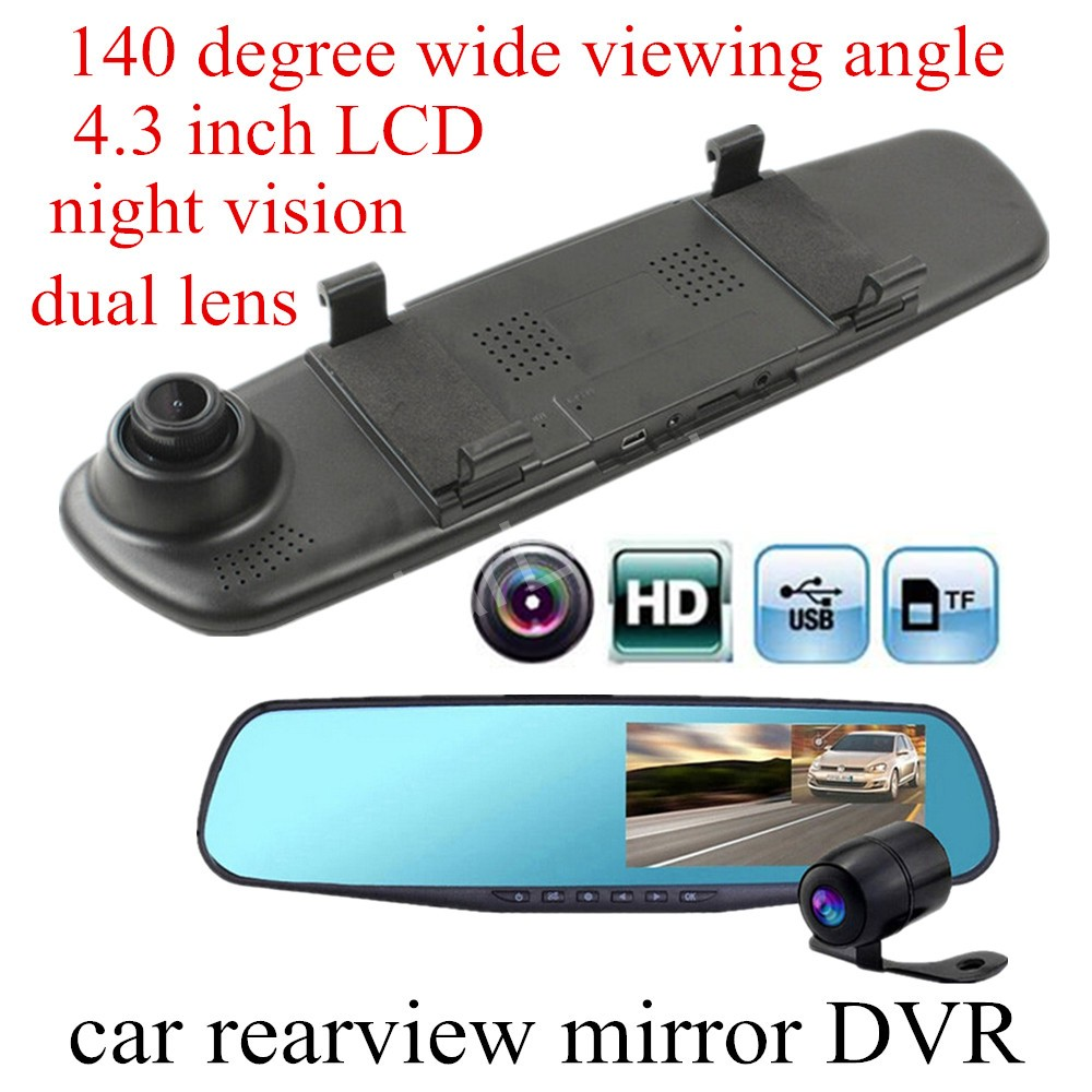 4 3 inch LCD 140 degree wide viewing angle dual lens car camera rearview mirror DVR