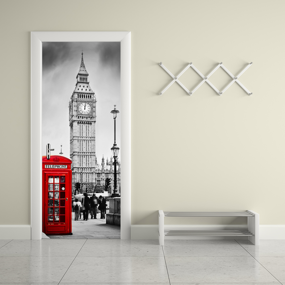 Funlife 77x200cm london telephone booth union jack for Door mural stickers