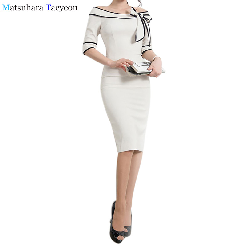 Womens Dresses Elegant Casual Work 3 4 Sleeve Slash Neck Striped with Bow Bodycon Women Office