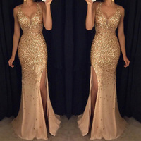 Evening Party Dress 2019 Summer Fashion Women Sequin Prom Sexy Rose Gold Dress Female High Waist V Neck Long Split Bodycon Dress