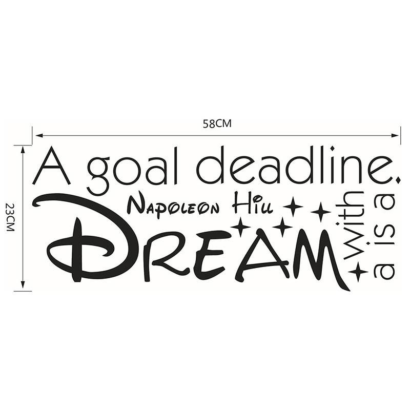 A goal is a Dream Famous & Inspirational Quotes Vinyl Wall Stickers Decal Living Room Bedroom Removable Sofa Home Wall Decor