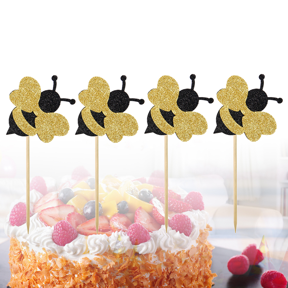 flowers bee happy birthday cupcake toppers diy cakes topper party decor suppl TB