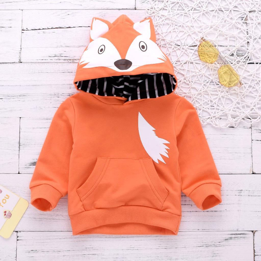 0-24 Mt Neugeborenen Fuchs Baby Kleidung Kinder Junge Mädchen Langarm Mit Kapuze Hoodies Tops Nette Baumwolle Sweatshirt Outwear Mode Mantel