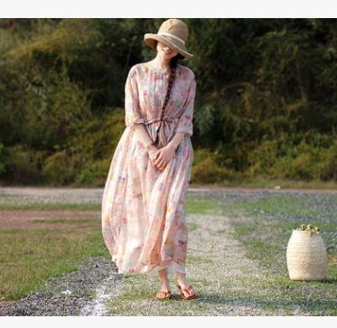 New product launch in the summer of 2018, the original design loose big yards 100% linen ladys dress