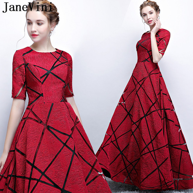 JaneVini 2018 Half Sleeve Burgundy Bridesmaid Dresses With Pockets Gold Sashes A Line Zipper Back Long Party Dress Gowns Custom
