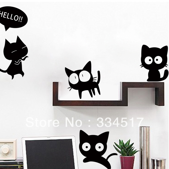 free shipping cat wall stickers children's room bedroom kitchen