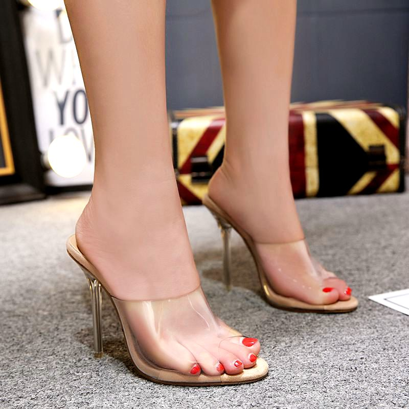 2018 women's sandals womans shoes transparent clear shoe gladiator high heeled slippers ladies shoes sandalias gladiadoras mujer