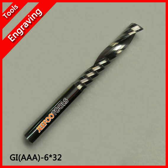 6*32mm Single Flute Cutters, Solid Carbide Cutting Tools, Engraving Carving MDF, PVC Board, Acrylic