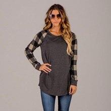 цены Plaid Printed Long Sleeve Pullover Top Shirt T-shirt Female Top