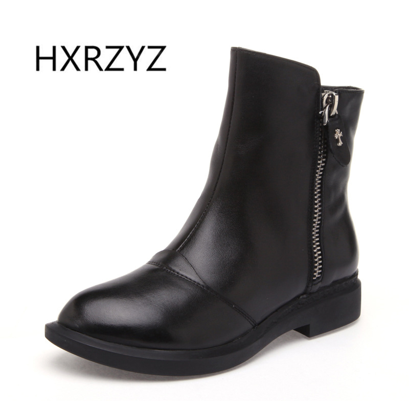 HXRZYZspring and autumn new fashion Side zipper Handmade genuine leather boots womens winter boots women Ankle