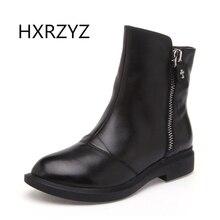 HXRZYZspring y otoño nueva cremallera Lateral de la moda Hecha A Mano botas de cuero genuino para mujer botas de invierno botas de Tobillo de mujer zapatos de las mujeres