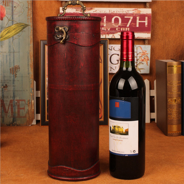 Us 10 84 17 Off Antique Wine Box Retro Packaging Wine Box Cylinder Red Wine Receiving Box Wooden Made Red Wine Gift Package Box In Figurines