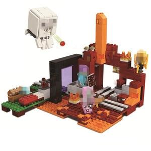 411pcs Minecrafted Figures Stevn Ghast The Nether Portal brick Compatible LegoeINGlys Educational Building Blocks Toys Set