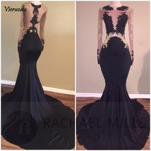 Black Gold Lace Appliques Mermaid Prom Dresses Long Sleeves Satin Long Party Evening Gowns black lace details long sleeves knitwear