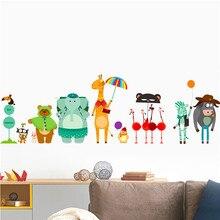Animals Giraffe Bear Elephant Wall Stickers For Kids Rooms Nursery Children Kindergarten Decoration Decals Mural Art Poster