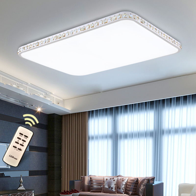 Flush Mount Modern Led Ceiling Lights For Living Room crystal bedroom Light Fixtures rectangular