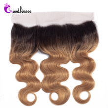 Ombre 13x4 Ear To Ear Lace Frontal Closure 1b/27 Two Tone Color Ombre Brazilian Body Wave Honey Blonde Human Hair Frontal(China)