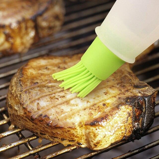 Grill Oil Bottle Brushes Heat Resisting Silicone BBQ Basting Oil Brush Pastry Oil Brushes BBQ Utensil Basting Brush Baking Tool