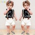 3 Piece/2-6Years/Verão Criança Set Roupas Meninos Carta Sem Mangas T-shirt + Short + Cinta Branca Roupas de bebê Crianças Agasalho BC1175