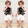 3Piece/2-6Years/Summer Toddler Boys Clothing Set Letter Sleeveless T-shirt+White Shorts+Strap Baby Clothes Kids Tracksuit BC1175