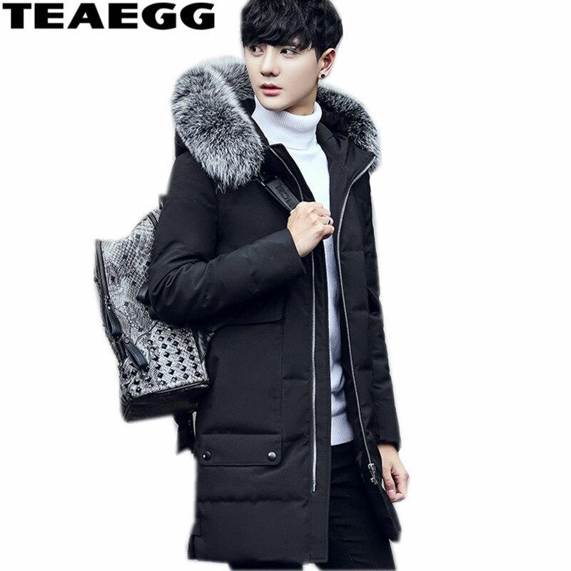 TEAEGG Casual Winter Mens Down Jacket Coat Natural Fox Fur Collar Thick Hood Mens Winter Warm Jacket Coats Warm Parkas AL509