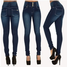 sherhure 2018 High Waist Tassles Ninth Denim Pants Skinny Pencil Pants Female Ripped