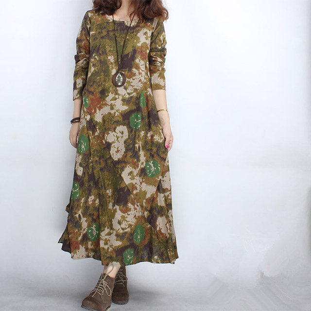 2017 New Large Size Maternity Dresses Flower Printing Long Sleeve Spring Loose Pregnancy Dress for Pregnant Women CE409
