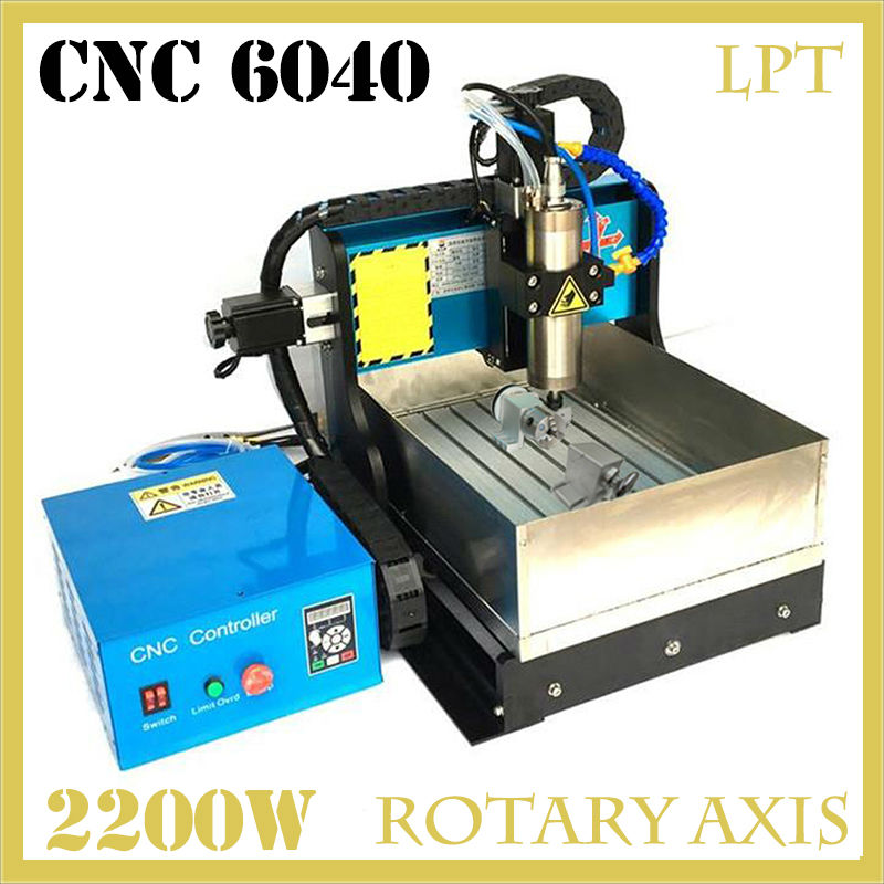 JFT 2200W CNC Engraving Machine with Water Tank 4 Axis Parallel Port Water Cooling CNC Router Desktop Engraving Machine 6040