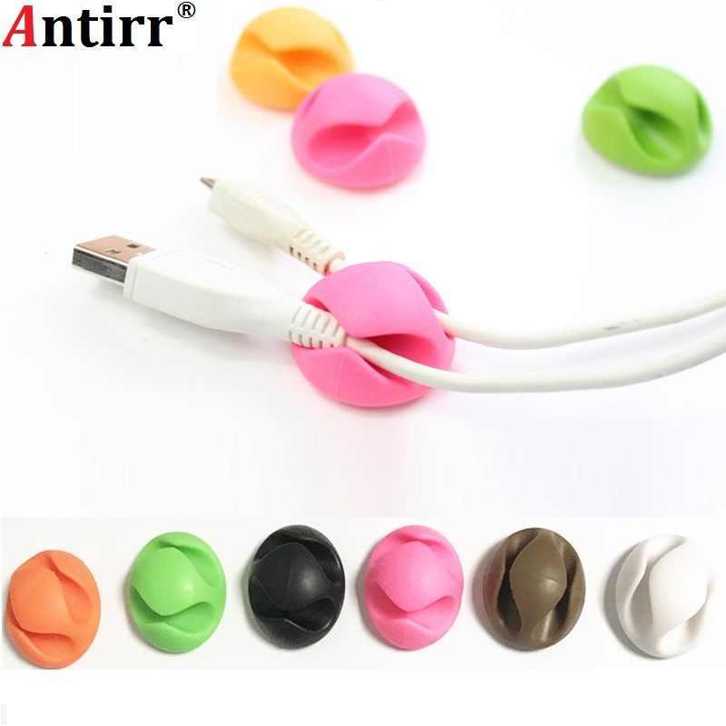 Okrągły klips telefon komórkowy kabel Winder szpulka ochraniacza klamra opaski na słuchawki Organizer do sznurka uchwyt na sortowanie zarządzania