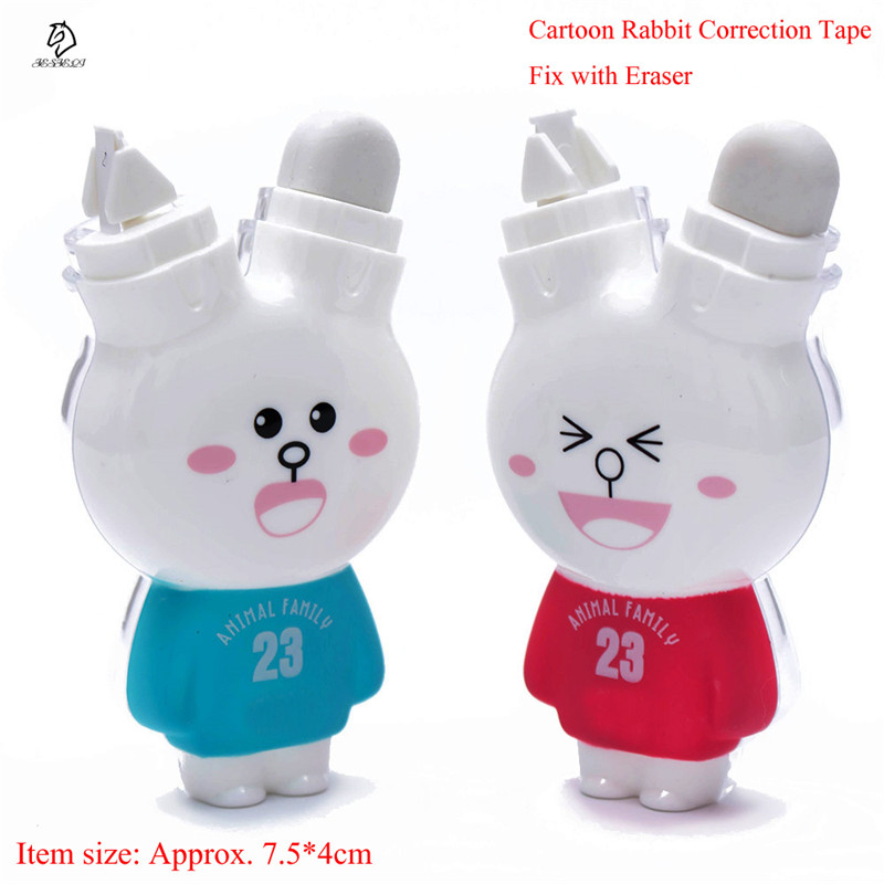 Hot Sale Stationery Correction Tape Cute Cartoon Rabbit Correction Tape Fix With Eraser School Office Supplies For Kids
