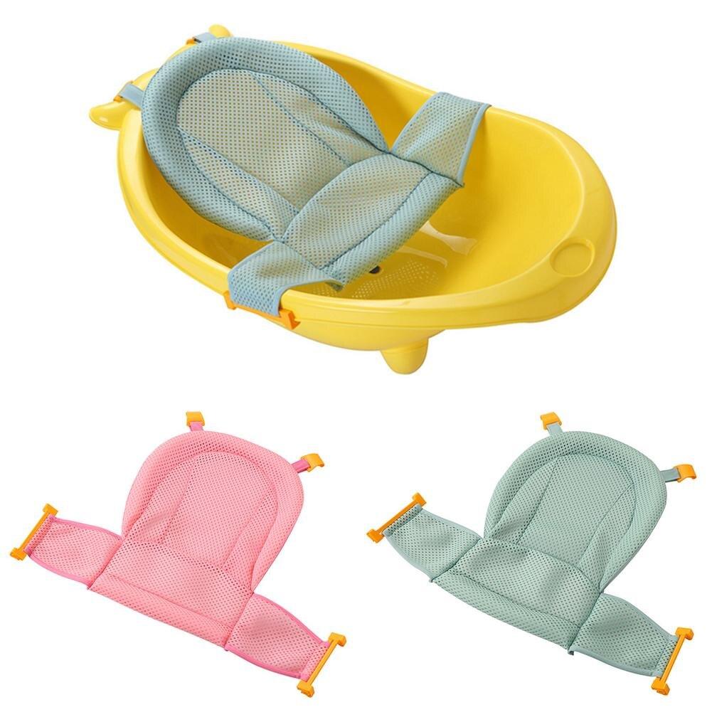 2 Color infantil ajustable bañera antideslizante en forma de T de ducha Tuck neto de algodón bebé Baño de malla para recién nacido bebé
