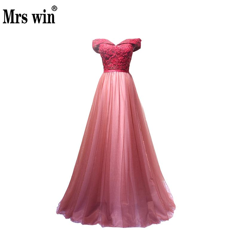 2018 New Lace Evening Dress Long Plus Size Bride Banquet Sweetheart Boat Neck Floor-length Lace Party Formal Dress Custom
